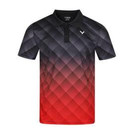 Victor S-13100 C férfi tollaslabda, squash galléros póló (fekete-piros)