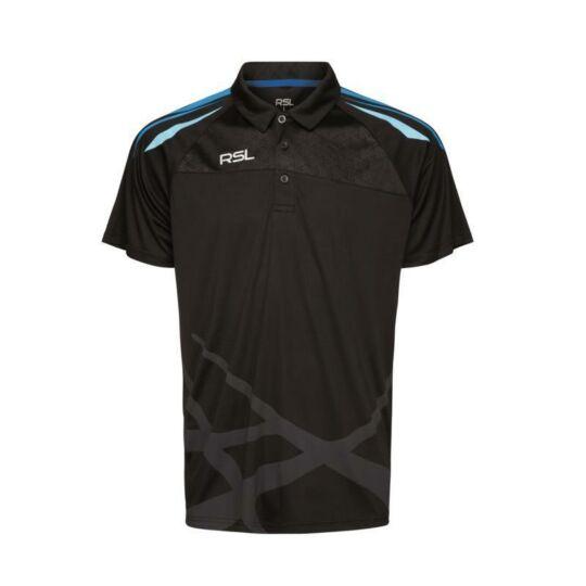RSL Golf férfi tollaslabda, squash galléros póló (fekete)